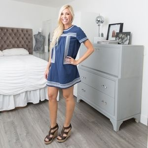 Navy Blue Embroidered Baby Doll Dress